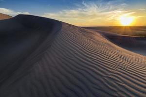coucher soleil, sur, ondulé, sable, dune, idaho