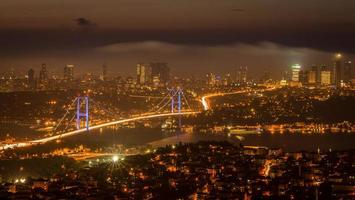 photographie de nuit istanbul photo