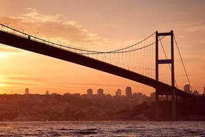 Pont du Bosphore à Istanbul au coucher du soleil photo