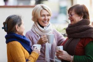 femme, thé, terrasse photo