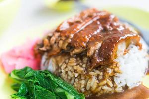 canard rôti au riz avec sauce