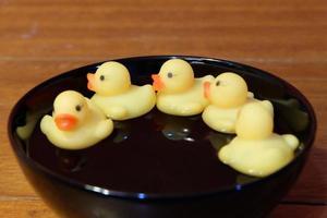 groupe de canards jouet pour magazine et carte photo