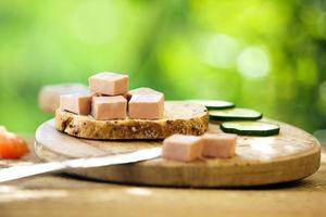 tranche de pain avec pâté sur la planche à découper en bois photo