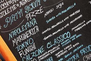 menu de pizzeria photo