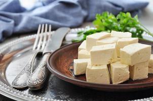 tofu sur plaque photo