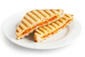 Sandwich grillé classique aux tomates et au fromage sur une plaque blanche.