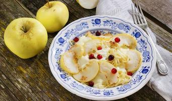 pâtes au fromage mozzarella, pommes et canneberges photo