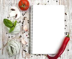 papier vierge pour recettes avec ingrédients