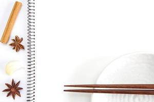 cahier blanc ouvert pour les recettes