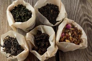 différentes sortes de thé dans des sacs en papier
