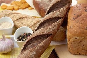 pain différent. fond de nourriture photo