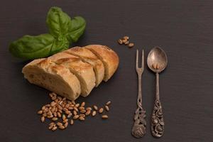 baguette, weizen, besteck photo