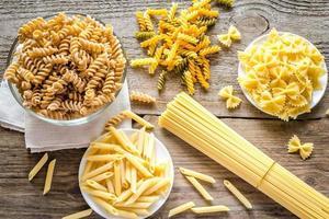 divers types de pâtes