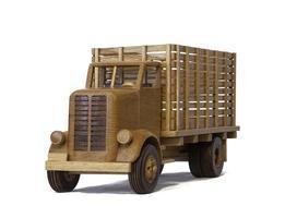 modèle de camion à panneaux en bois