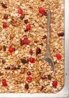 granola aux fruits rouges et noix closeup photo