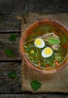 soupe aux orties traditionnelle russe avec des œufs et de la crème sure