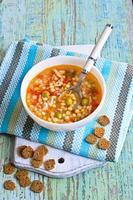 soupe aux petites pâtes, légumes et morceaux de viande