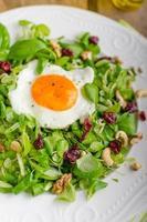 salade fraîche aux noix, raisins secs et œuf au plat