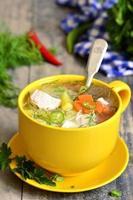 soupe de poulet aux vermicelles. photo