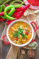 soupe aux légumes kharcho. cuisine géorgienne.