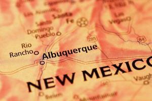 région d'Albuquerque sur une carte photo