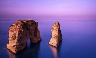rocher de Rawsha au coucher du soleil