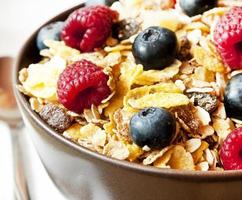 Muesli aux fruits rouges closeup photo