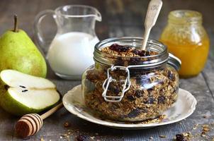 granola de flocons de seigle et d'avoine. photo