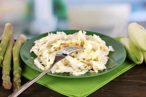 assiette avec salade de chou, asperges et chicorée sur table