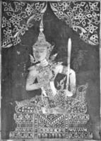 Bouddha fresque en bois sculpté doré
