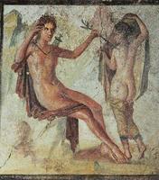Fresques dans les ruines de Pompéi, Naples, Italie