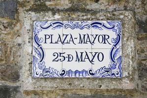 Plaque de rue Plaza Mayor