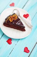 morceau de dessert de la Saint-Valentin au chocolat
