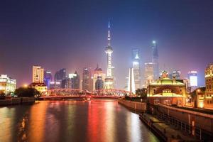 beau paysage de shanghai la nuit photo