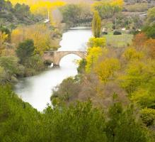 paisaje de otoño con río y puente romano photo