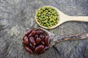 haricots verts et haricots rouges dans la cuillère en bois. photo