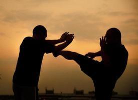 auto-défense contre un coup de jambe photo