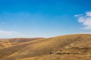 collines dorées et ciel bleu