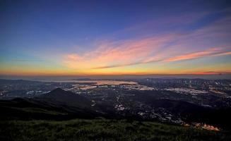 zones humides de hong kong au coucher du soleil