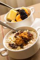 fruits frais et flocons d'avoine avec garnitures saines pour le petit déjeuner photo