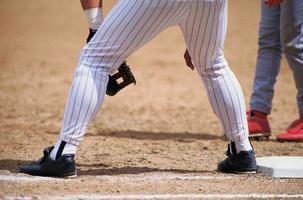 jambes de joueur de baseball photo