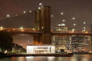 pont de manhattan, new york, nuit, brooklyn
