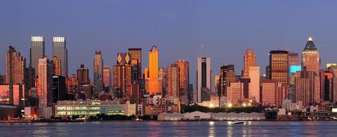 panorama de coucher de soleil manhattan new york city photo