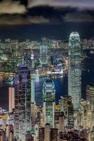 Vue de nuit de Hong Kong depuis le pic photo