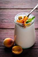 yogourt grec épais avec granola, pêches et menthe photo