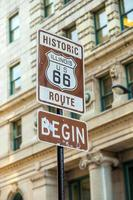 Signe de la route 66 à chicago photo