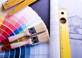 échantillons de couleurs et plan d'architecture photo