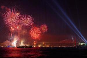 Pont du Bosphore à la célébration du 29 octobre - Istanbul photo
