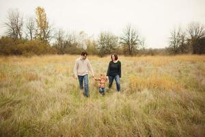 portrait de famille dans le champ photo
