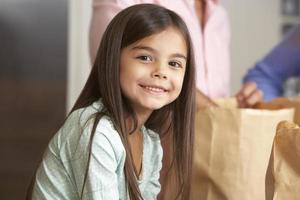 famille, déballage, épicerie, cuisine
